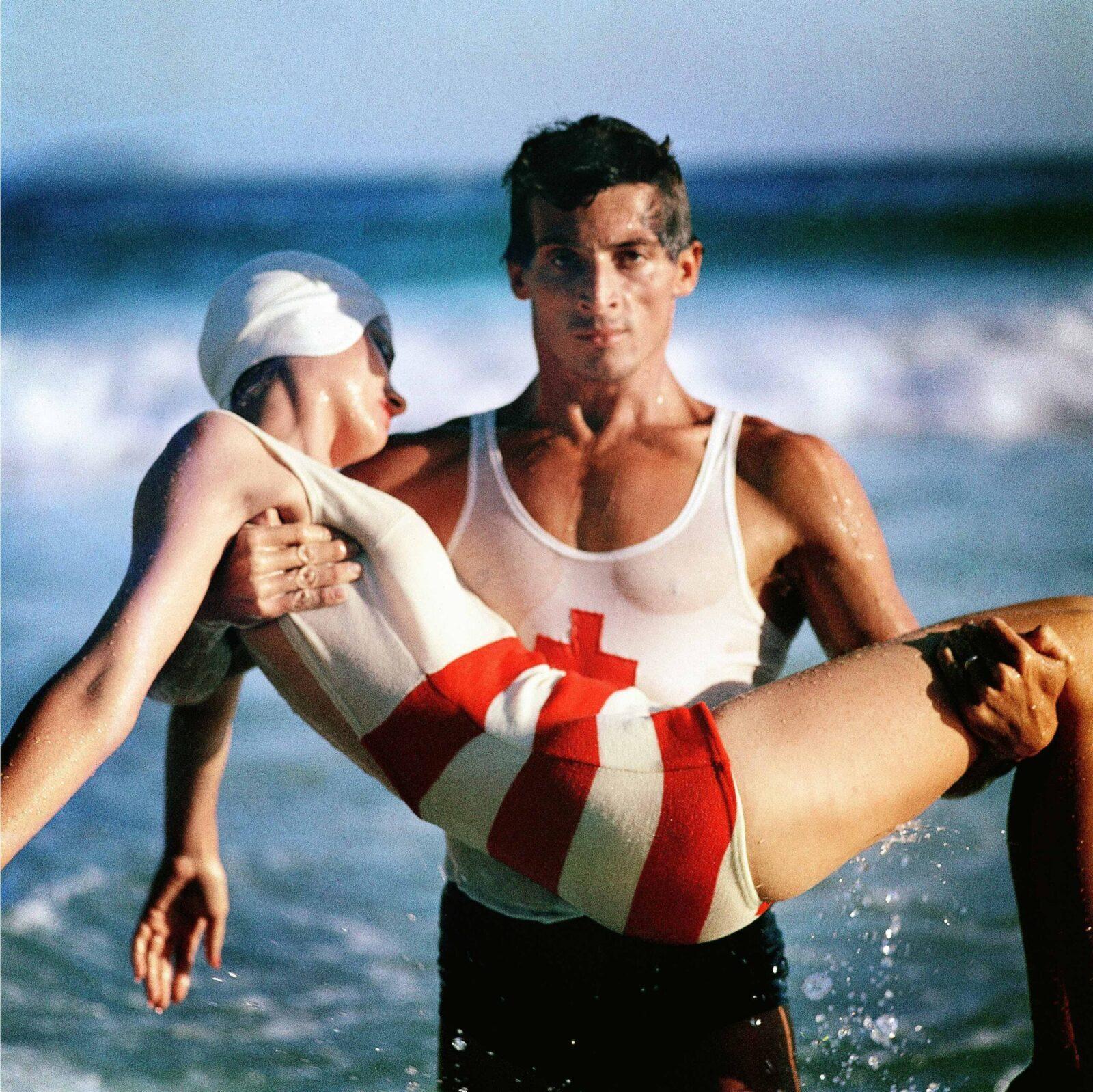Norman Parkinson - Stripes in the Swim, Rio, 1961